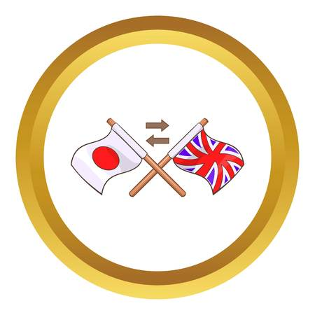 bilingual: Translation from japanese to english vector icon in golden circle, cartoon style isolated on white background