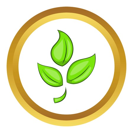 Green plant eco symbol vector icon in golden circle, cartoon style isolated on white background