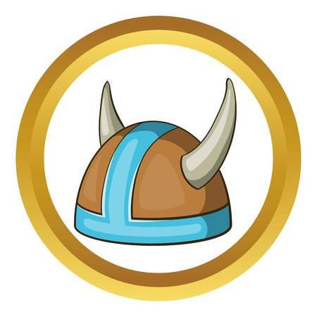 Swedish viking helmet vector icon in golden circle, cartoon style isolated on white background Illustration