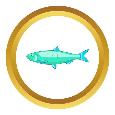 coldblooded: Baltic herring vector icon in golden circle, cartoon style isolated on white background
