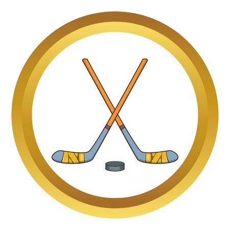 icehockey: Hockey sticks and puck vector icon in golden circle, cartoon style isolated on white background