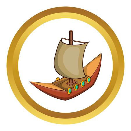 Viking ship vector icon in golden circle, cartoon style isolated on white background Illustration