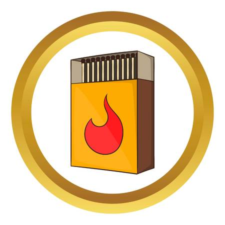 Box of matches vector icon in golden circle, cartoon style isolated on white background
