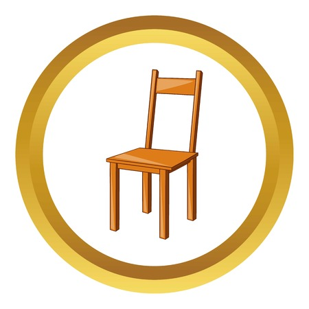 chair wooden: Wooden chair vector icon in golden circle, cartoon style isolated on white background