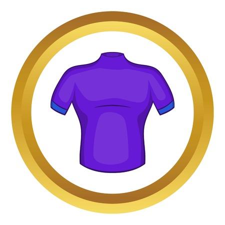 icono de la camisa de ciclo del vector en el círculo de oro, estilo de dibujos animados aislado en el fondo blanco Vectores
