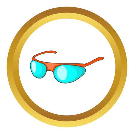 Bicycle sport glasses vector icon in golden circle, cartoon style isolated on white background Illustration