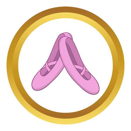 Pointe shoes vector icon in golden circle, cartoon style isolated on white background