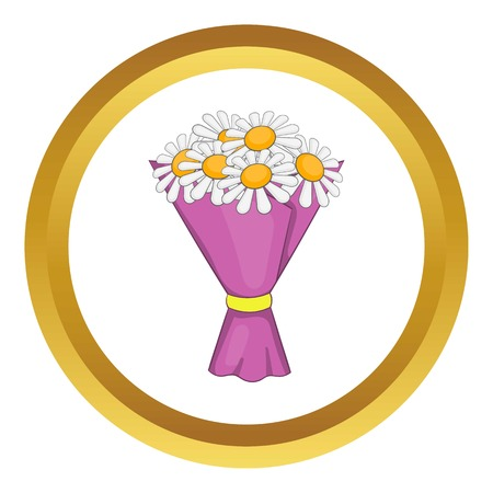 Bouquet of flowers vector icon in golden circle, cartoon style isolated on white background