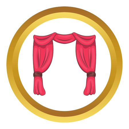 Curtain on stage vector icon in golden circle, cartoon style isolated on white background