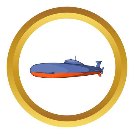 Submarine vector icon in golden circle, cartoon style isolated on white background Illustration
