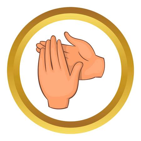 applauding: Applause vector icon in golden circle, cartoon style isolated on white background
