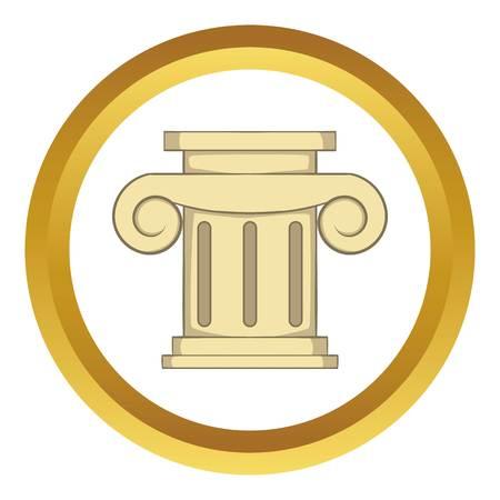 roman column: Roman column vector icon in golden circle, cartoon style isolated on white background Illustration