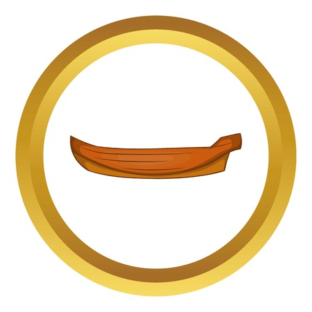 Wooden boat vector icon in golden circle, cartoon style isolated on white background