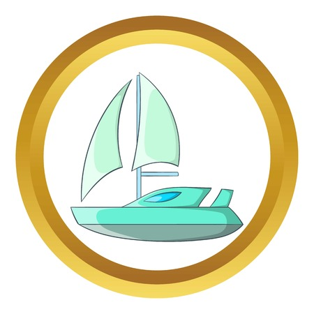 Speed boat with sail vector icon in golden circle, cartoon style isolated on white background Illustration