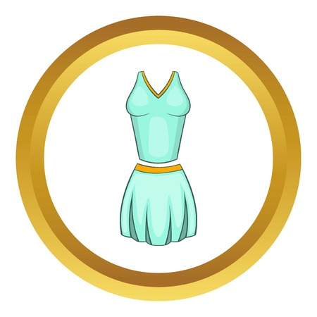 female form: Tennis female form vector icon in golden circle, cartoon style isolated on white background