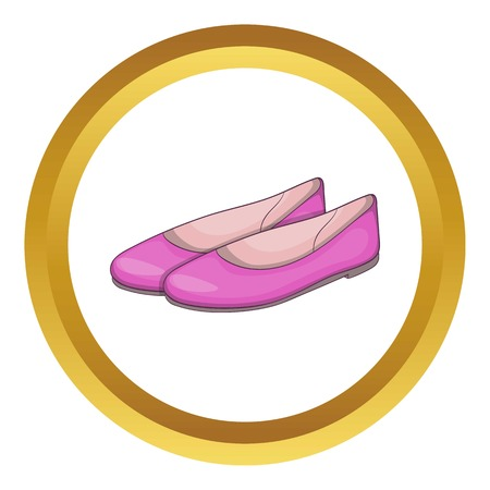 Womens flat shoes vector icon in golden circle, cartoon style isolated on white background Vektorové ilustrace