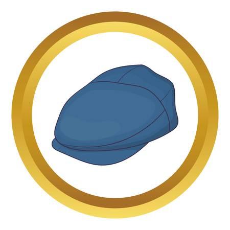 salarios: Casquillo del vector del icono del controlador en el círculo de oro, estilo de dibujos animados aislado en el fondo blanco