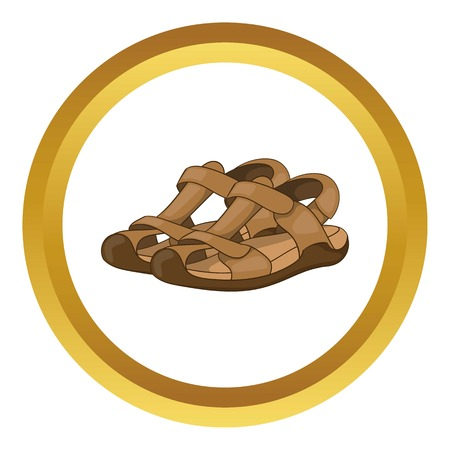sandals isolated: Sandals vector icon in golden circle, cartoon style isolated on white background