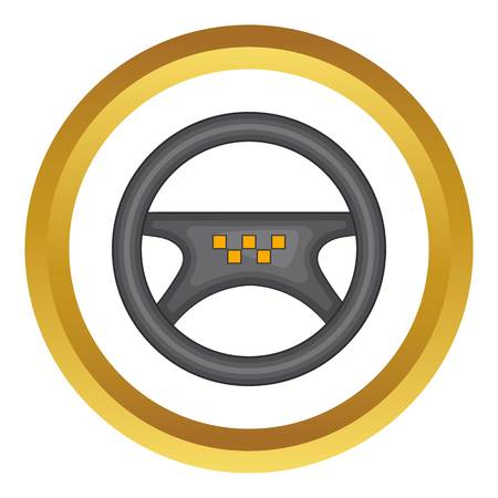 Steering wheel of taxi vector icon in golden circle, cartoon style isolated on white background