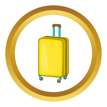 luggage carrier: Suitcase on wheels vector icon in golden circle, cartoon style isolated on white background