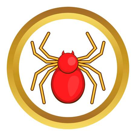 Computer bug vector icon in golden circle, cartoon style isolated on white background Illustration