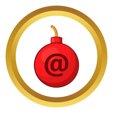 email bomb: Mail bomb vector icon in golden circle, cartoon style isolated on white background