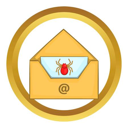 Infected email vector icon in golden circle, cartoon style isolated on white background Illustration