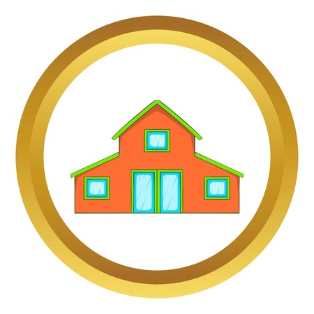 Little house vector icon in golden circle, cartoon style isolated on white background