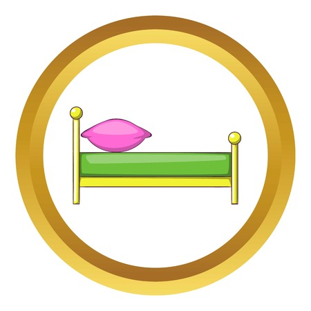 duvet: Kid bed vector icon in golden circle, cartoon style isolated on white background