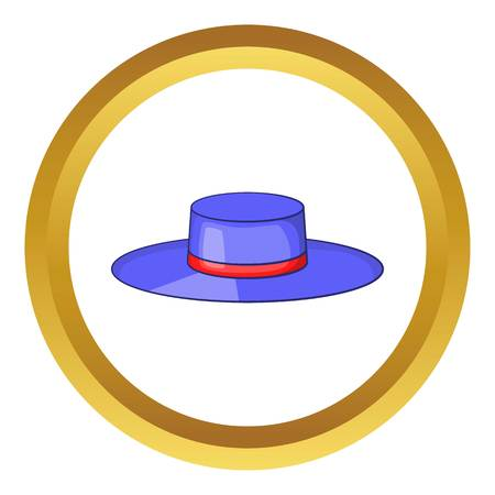 Spain hat with red ribbon vector icon in golden circle, cartoon style isolated on white background Illustration