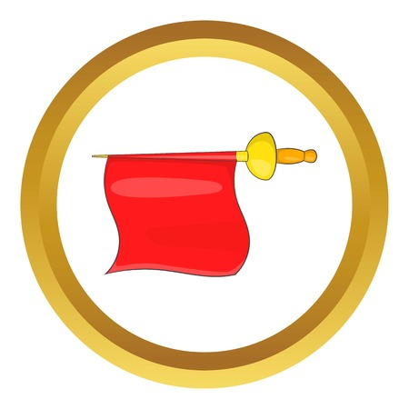 Matador red fabric vector icon in golden circle, cartoon style isolated on white background Illustration