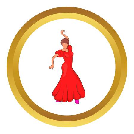 Flamenco dancer vector icon in golden circle, cartoon style isolated on white background Illustration