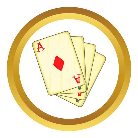 Four aces playing cards vector icon in golden circle, cartoon style isolated on white background