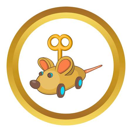 prankster: Clockwork mouse vector icon in golden circle, cartoon style isolated on white background Illustration