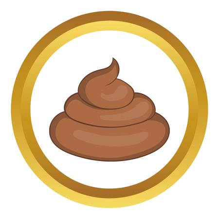 Piece of turd vector icon in golden circle, cartoon style isolated on white background Illustration