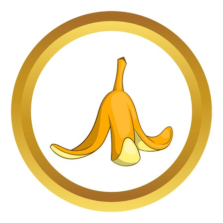 Banana peel vector icon in golden circle, cartoon style isolated on white background