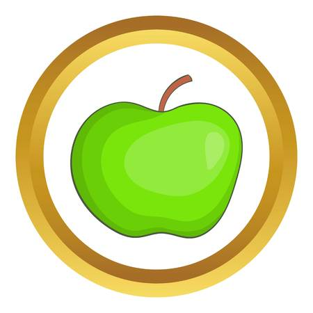 golden apple: Apple vector icon in golden circle, cartoon style isolated on white background