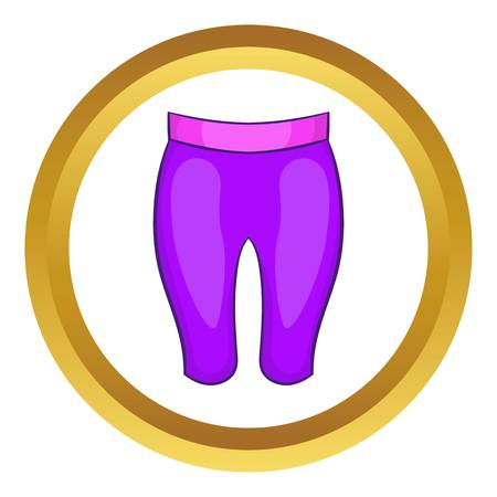 Sport shorts vector icon in golden circle, cartoon style isolated on white background