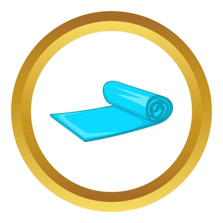 rolled up: Yoga mat vector icon in golden circle, cartoon style isolated on white background