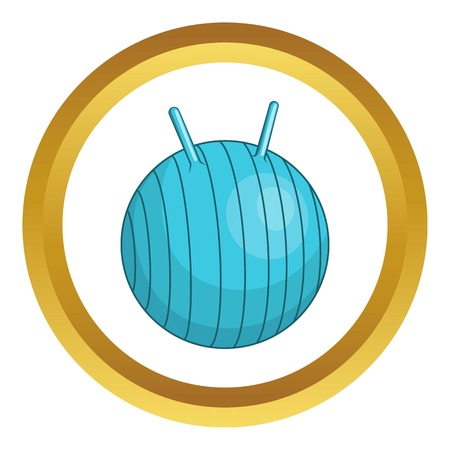 fitball: Children fitball vector icon in golden circle, cartoon style isolated on white background