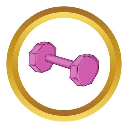 Dumbbell vector icon in golden circle, cartoon style isolated on white background