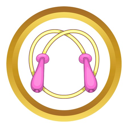 skipping rope: Skipping rope vector icon in golden circle, cartoon style isolated on white background
