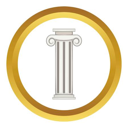 roman pillar: Column vector icon in golden circle, cartoon style isolated on white background