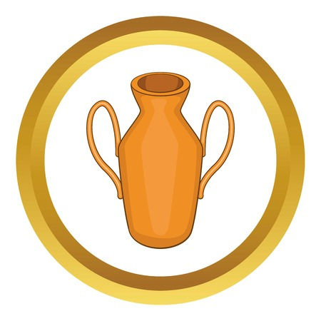 Ancient vase vector icon in golden circle, cartoon style isolated on white background