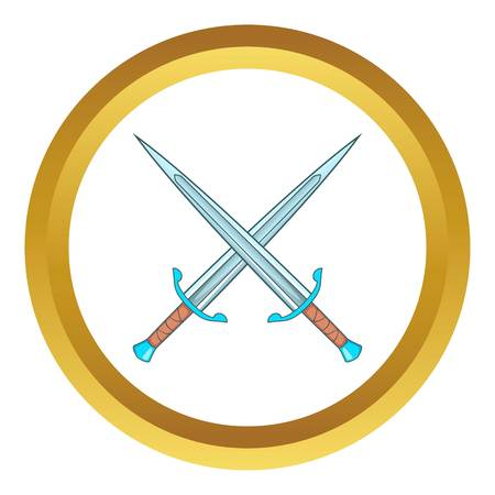 Crossed swords vector icon in golden circle, cartoon style isolated on white background Illustration