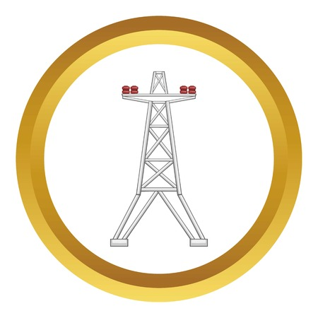 Electric pole vector icon in golden circle, cartoon style isolated on white background