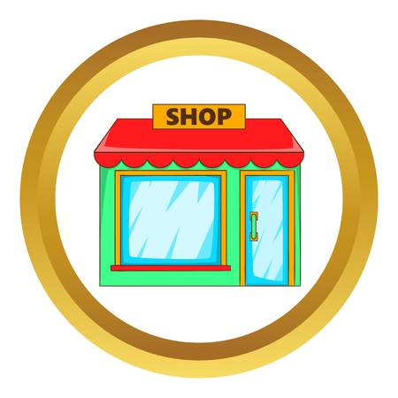 frontdoor: Shop vector icon in golden circle, cartoon style isolated on white background Illustration
