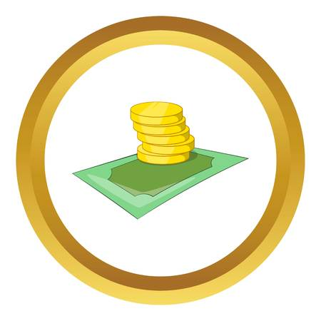 Coins vector icon in golden circle, cartoon style isolated on white background