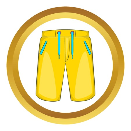 breeches: Breeches vector icon in golden circle, cartoon style isolated on white background Illustration