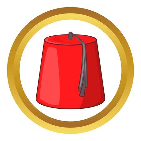 69501151 - Icono de vector rojo turco sombrero fez en círculo de oro 7a4dd0c9c2b